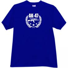AK-47 Kalashnikov Famous Russian Weapon T-shirt in blue