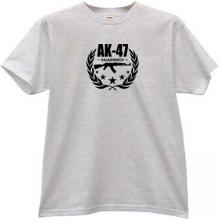 AK-47 Kalashnikov Famous Russian Weapon T-shirt in gray