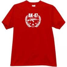 AK-47 Kalashnikov Famous Russian Weapon T-shirt in red