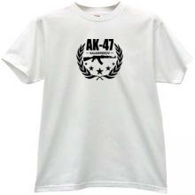 AK-47 Kalashnikov Famous Russian Weapon T-shirt in white