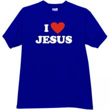 I Love JESUS Cool Christian T-shirt in blue