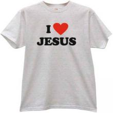 I Love JESUS Cool Christian T-shirt in gray