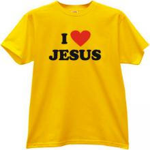 I Love JESUS Cool Christian T-shirt in yellow