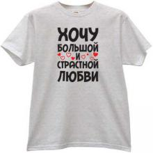 I want a great and passionate Love Funny Russian T-shirt in gray