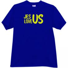 Jesus Love Us Cool Christian T-shirt in blue