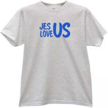 Jesus Love Us Cool Christian T-shirt in gray