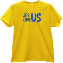 Jesus Love Us Cool Christian T-shirt in yellow
