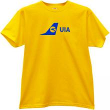 UIA Ukraine International Airlines T-shirt in yellow