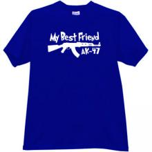 My Best Friend AK-47 Funny T-shirt in blue