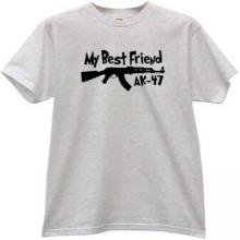 My Best Friend AK-47 Funny T-shirt in gray