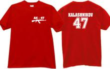 AK-47 KALASH - Kalashnikov Cool Weapon T-shirt in red