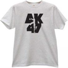 AK-47 KALASHNIKOV Russian famous rifle t-shirt in gray