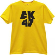 AK-47 KALASHNIKOV Russian famous rifle t-shirt in yellow