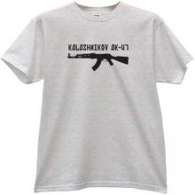 AK-47 Kalashnikov Russian Weapon T-shirt in gray