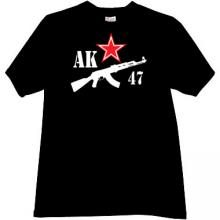 AK 47 Kalashnikov and Star T-shirt in black