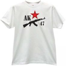 AK 47 Kalashnikov and Star T-shirt in white