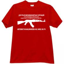KALASHNIKOV - for the decision of conflicts! Russian T-shirt red