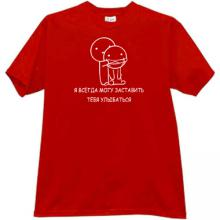 I can always make you smile Funny Russian t-shirt in red