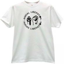 Animal Liberation - Human Liberation Cool T-shirt in white