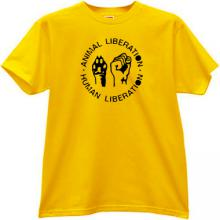 Animal Liberation - Human Liberation Cool T-shirt in yellow