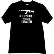 Armed and Dangerous AK-47 Russian T-shirt in black
