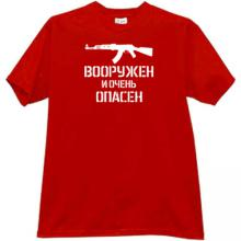 Armed and Dangerous AK-47 Russian T-shirt in red