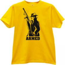 ARMED Mafia Retro T-shirt in yellow