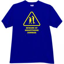 Beware of Smartphone Zombies Funny T-shirt in blue