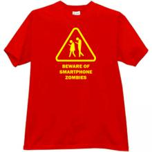 Beware of Smartphone Zombies Funny T-shirt in red