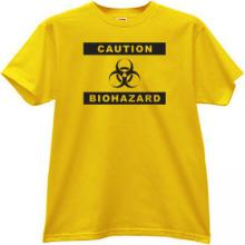 Caution Biohazard Cool T-shirt in yellow