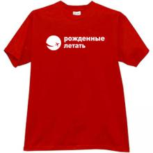 Born to Fly Cool russian T-shirt in red