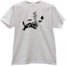 Cat - Diver Funny T-shirt in gray