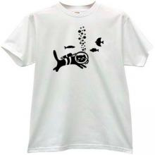 Cat - Diver Funny T-shirt in white