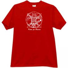 Cat Da Vinci Funny Russian T-shirt in red