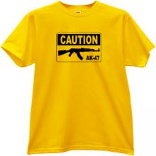 CAUTION AK-47 Cool Russian Rifle T-shirt