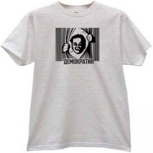 DEMOCRACY Russian T-shirt in gray