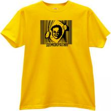 DEMOCRACY Russian T-shirt in yellow