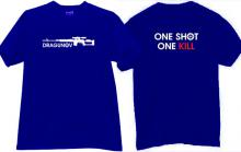 Dragunov One Shot One Kill Russian Sniper Rifle T-shirt in blue