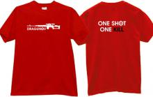 Dragunov One Shot One Kill Russian Sniper Rifle T-shirt in red