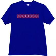 Embroidery Style cool russian T-shirt in blue