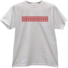 Embroidery Style cool russian T-shirt in gray