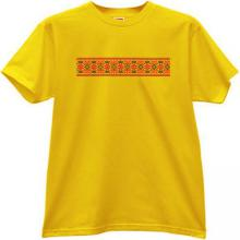 Embroidery Style cool russian T-shirt in yellow