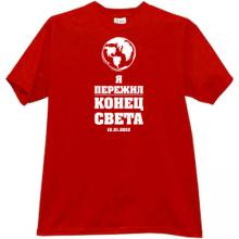 I survived the End of the World Funny Russian T-shirt in red
