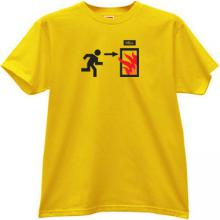 Exit to Hell Funny T-shirt in yellow