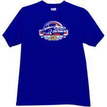 GAZ M21 Volga 60 Years Russian Retro Car T-shirt in blue