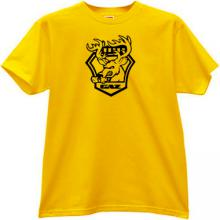 GAZ Funny Russian Car Emblem T-shirt in yellow
