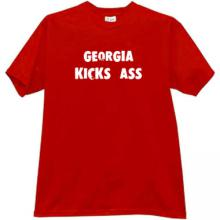 Georgia Kicks Ass Funny Georgian T-shirt in red