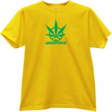 Greenpeace Funny Canabis T-shirt in yellow