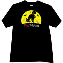 Happy Halloween Cat T-shirt in black