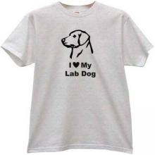 I Love My Lab Dog Cool T-shirt in gray